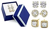 SPECIAL OFFER: 3-Piece Womens Classic Trio Cubic Zirconia Stud Earrings Set With a FREE Gift Box