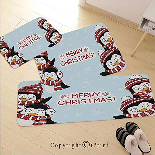 Christmas Decorations 3D Non-Slip Kitchen Mat Runner Rug Set,3pc Kitchen Rug Set,New Year Quote Cute Penguins with Hats and Scarf Snowflakes Kids Decor,for Entryway Kitchen and Bedroom,Blue Red