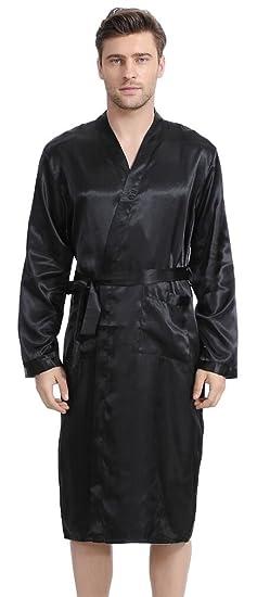 FLYCHEN Men s Robe Long Satin Bathrobe Lightweight Nightwear Loungewear  Small Black 655a7423e