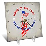 3dRose Andrea Haase Patriotic Art - Home Of The Free Lady Liberty America Patriotic Art - 6x6 Desk Clock (dc_282632_1)