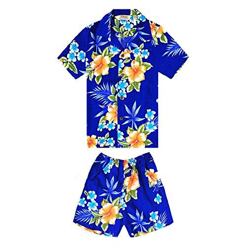 Boy Hawaiian Shirt and Shorts Cabana Set in Hibiscus Blue Size ()