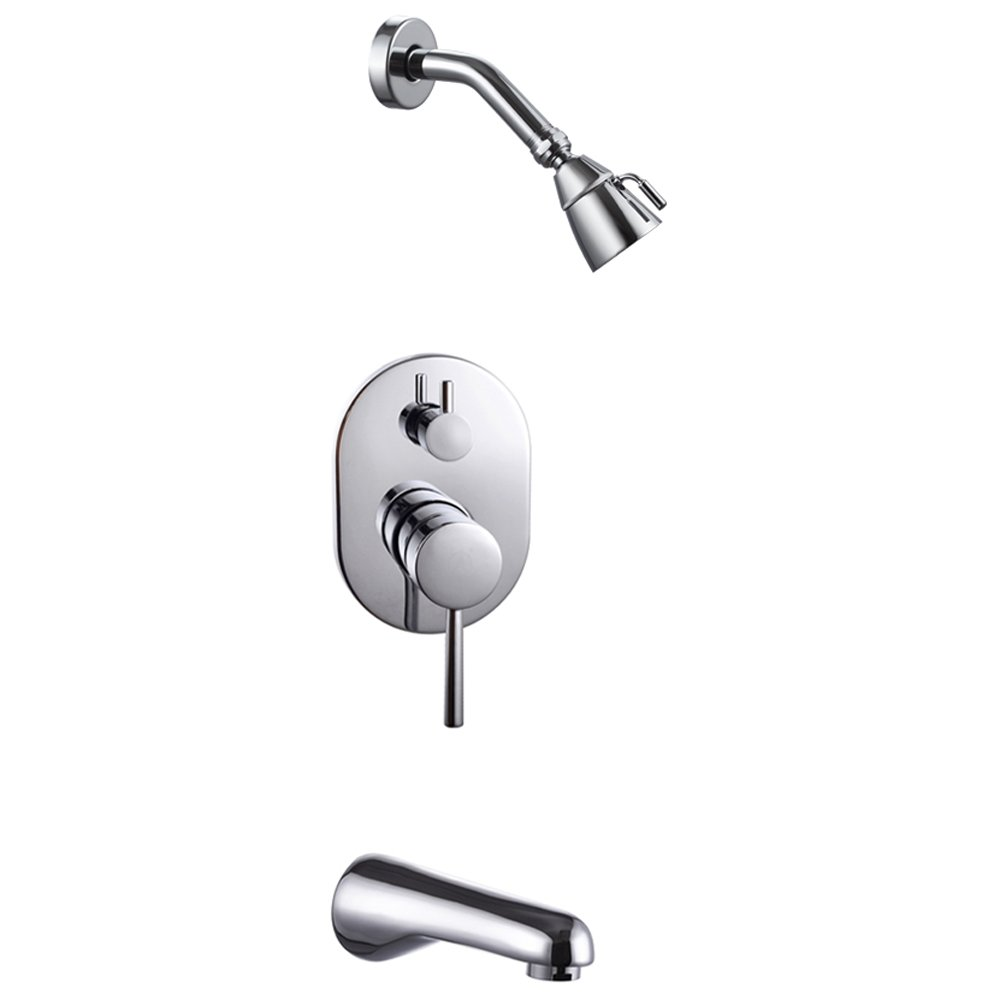 complete shower faucet kits. KES Bathroom Single Handle Shower Faucet Trim Valve Body Tub Spout Complete  Kit Polished Chrome X6224 Amazon com