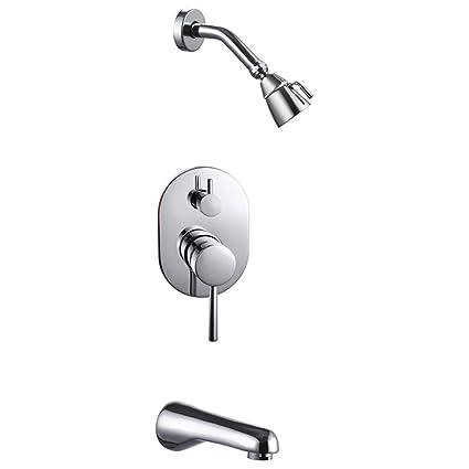 KES Bathroom Single Handle Shower Faucet Trim Valve Body Tub Spout Complete  Kit, Polished Chrome