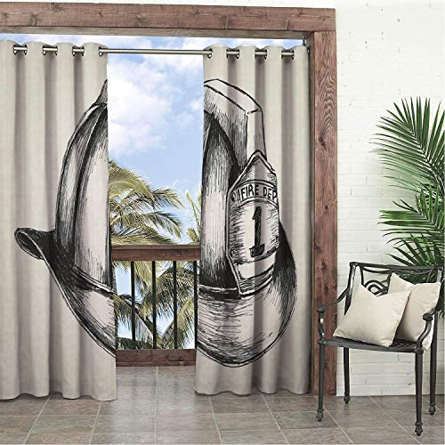 Linhomedecor Balcony Waterproof Curtains Fireman Sketch Style Illustration of a Firefighter Symbol of The Fire Department Beige Charcoal Grey doorways Grommets Adjustable Curtain 120 by 108 inch