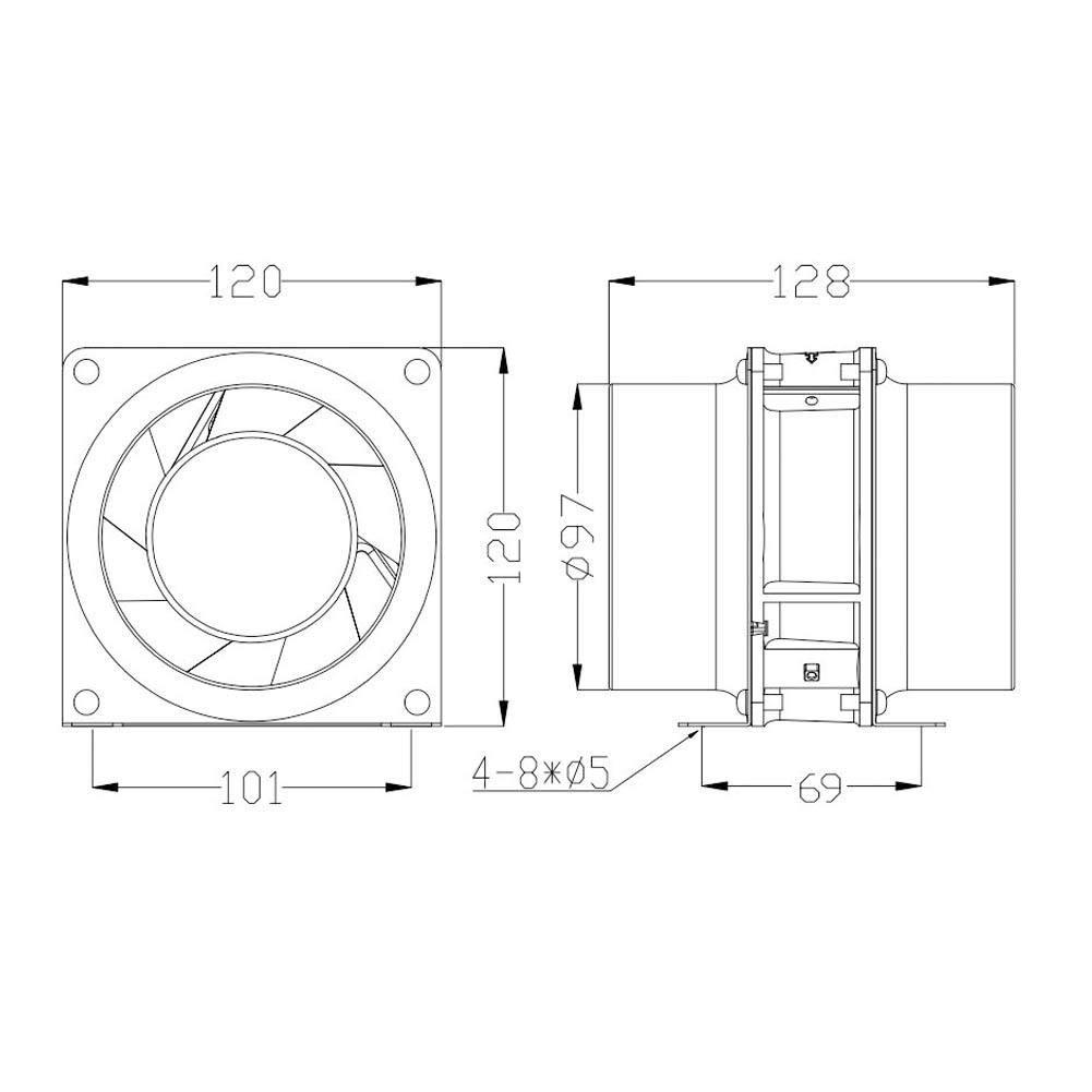 ventilador de conducto en l/ínea de 4 pulgadas Ventilador Extractor de ventilaci/ón para taller Biblioteca Cine AC 200-240V 2700RPM Conducto del ventilador 50//60HZ