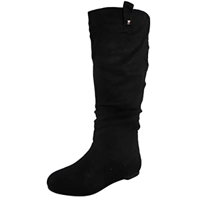 9ed5c19e81ac25 Womens Pixie MID Calf Rouched Flat Pull ON Knee Long Ladies Slouch Boots  Size 3-