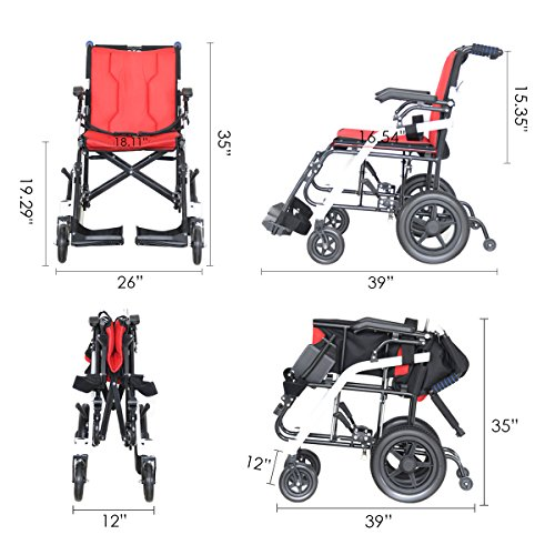 Hi-Fortune 21 lbs Lightweight Transport Medical Wheelchair with Adjustable Armrests and Hand Brakes, Portable and Folding with Magnesium Alloy, 18'' Seat, Red by Hi-Fortune (Image #2)