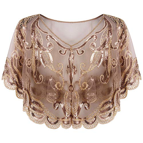 Vijiv Women's Vintage 1920s Shawl Sequins Bolero Shrugs Flapper Cover up for Evening Dresses