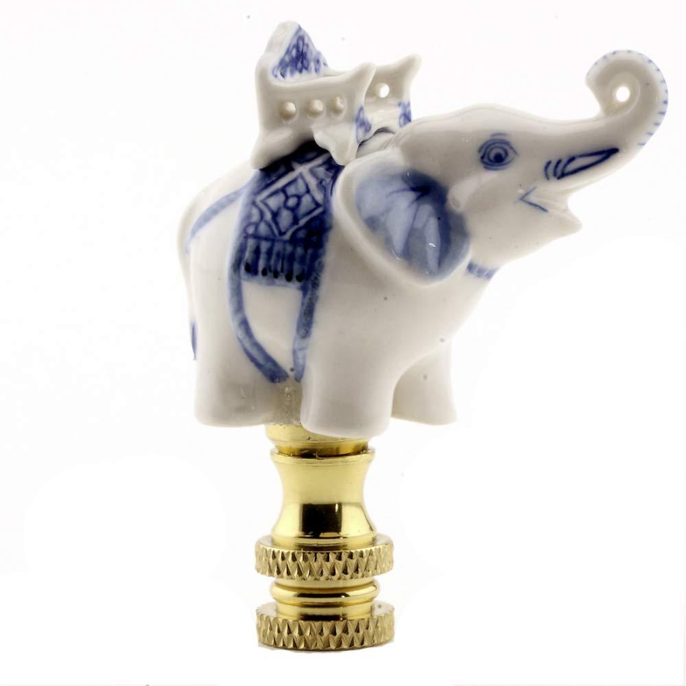 White Elephant Finial Lamp Shade Topper Howdah Seat Houdah Lampshade Screw Celadon Porcelain