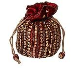 Traditional Satin Jaipuriya Style Potli Bag for Women & Girls (Maroon)