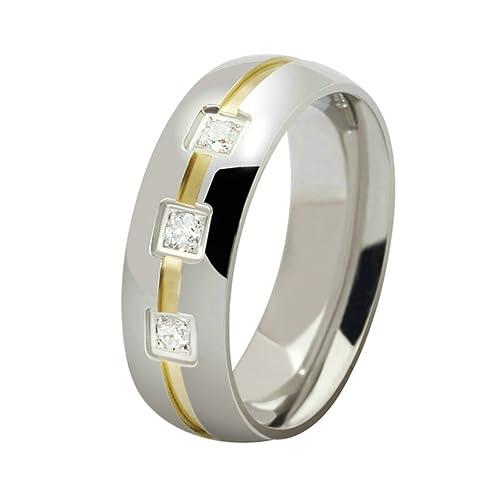 Daesar Joyería Hombre Anillo Compromiso Acero Biocolor para Hombres Sortijas Matrimonio con Tres Piedras Preciosas,