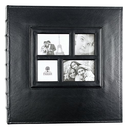 00 Photo - Family Wedding Anniversary Baby Vacation Album Sewn Bonded Leather Book Bound Bi-Directional 500 4x6 Photos 5 Per Page. - Large Capacity Deluxe Customizable (Black) (6 X 4 Album)