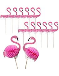 30 Pack Flamingo Cake Toppers Cake Decorations,Cocktail Tropical Wedding Birthday Party Dessert Food Drink Picks(Pink)
