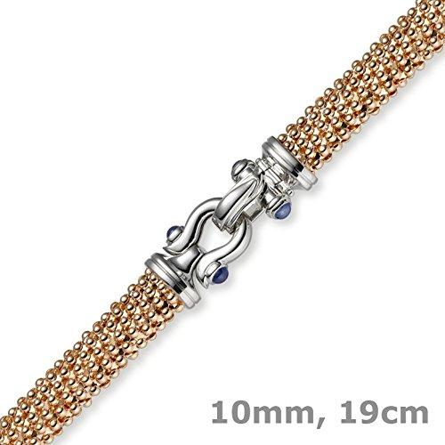 Bracelet framboise 10 mm oval en or rose 585 19 cm avec boucle en or saphir