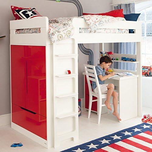 Con escritorio cama alta farrington - rojo con la mano izquierda lateral de la escalera: Amazon.es: Hogar