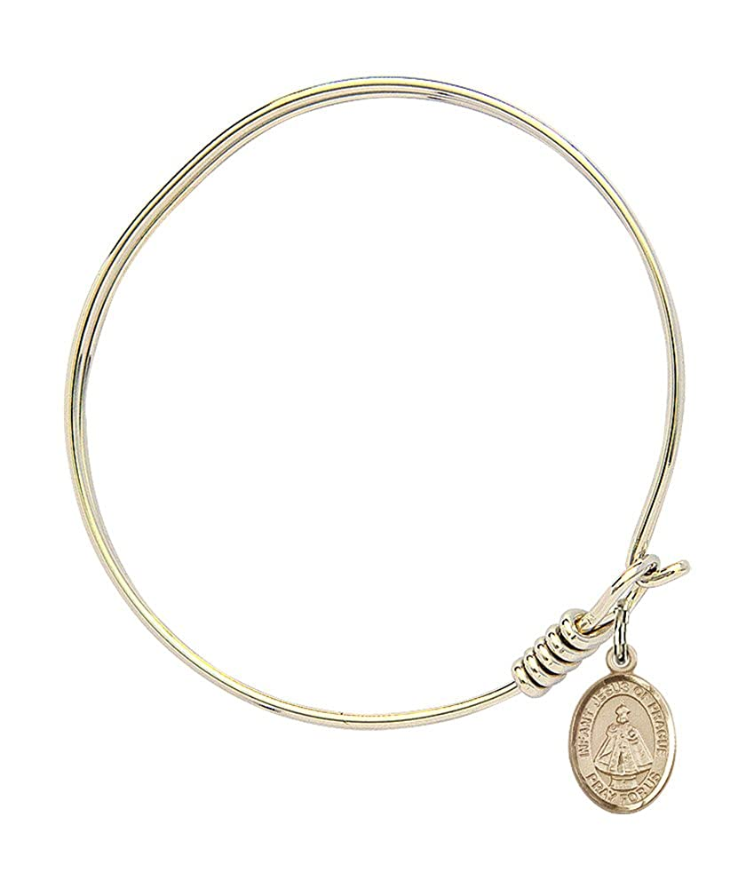 Bonyak Jewelry Round Eye Hook Bangle Bracelet w//Infant of Prague in Gold-Filled