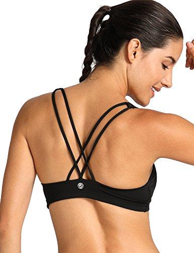 CRZ YOGA LA Isla Women's Light Support Cross Back Wirefree Yoga Sports Bra Black - Bikini Triathlon