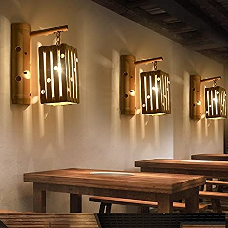 Avanthika E27 Wall Sconces Mounted Wall Bedroom Stair Wall Lights  Personality Creative Antique Bamboo Arts Japanese