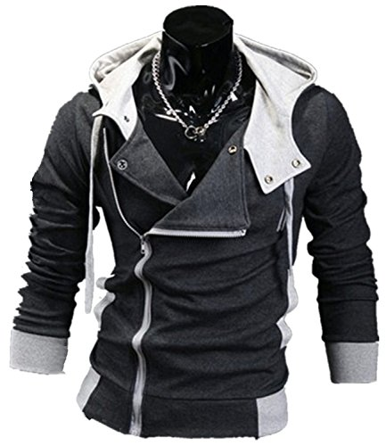 Cottory Men's Oblique Zipper Hoodie Cosplay Costume slim fit Jacket DarkGrey X-Large - Assassin's Creed 2 Costume Cosplay