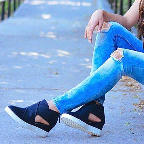 Matte Party Black Increase Inside Shoes Fashion Sexy Women Solid Shoes Wedges Color Casual Hollow FALAIDUO Zipper Cross cqX86wTqxa