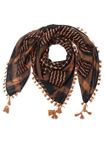 Merewill Premium Original Arabic Scarf 100% Cotton Shemagh Keffiyeh 49''x49'' Arab Scarf Orange Black by Merewill