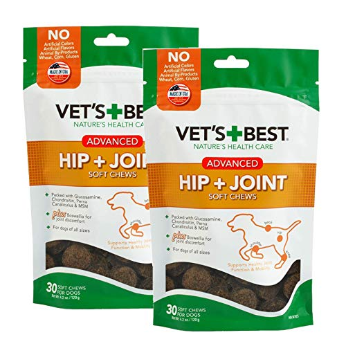 Vets Best Hip & Joint Soft Chews Dog Supplements, 30 Day Supply (Advanced Formula- 2 Pack)
