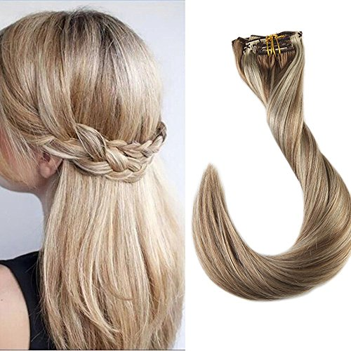 Full Shine 22inch Remy Hair Clip Extensions Human Hair Extensions 9 Pcs 120 Gram Dip Dyed Hair Extensions Clip in Balayage Hair Color #10 and #613 Blonde Highlighted Clip In Hair Extensions ()