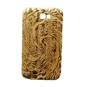 ATJC Different Pattern Natural Bamboo Wood Wooden Hard Cover Case for Samsung Galaxy Note2 N7100 (Tornado Bamboo)