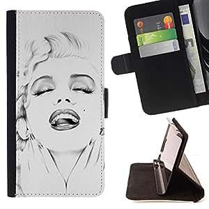 50'S 60'S STAR HOLLYWOOD ACTRESS/ Personalizada del estilo del dise???¡Ào de la PU Caso de encargo del cuero del tir????n del soporte d - Cao - For Samsung Galaxy S6 EDGE