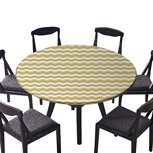 Picnic Circle Table Cloths Figures with Triangles and Circular Shapes Stripes Illustration Earth Yellow Beige for Family Dinners or Gatherings 55