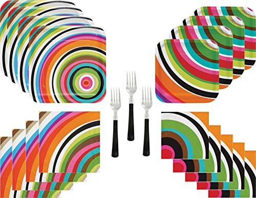 - Ring Colorful Retro Party Supply Bundle for 20 Guests - Includes Plates, Napkins and Forks