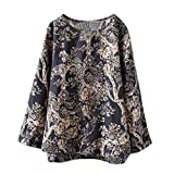 DORIC 2019 New Girls Women's Tops Blouse Long Sleeve Floral Print Casual Shirt Round Neck Oversize Black