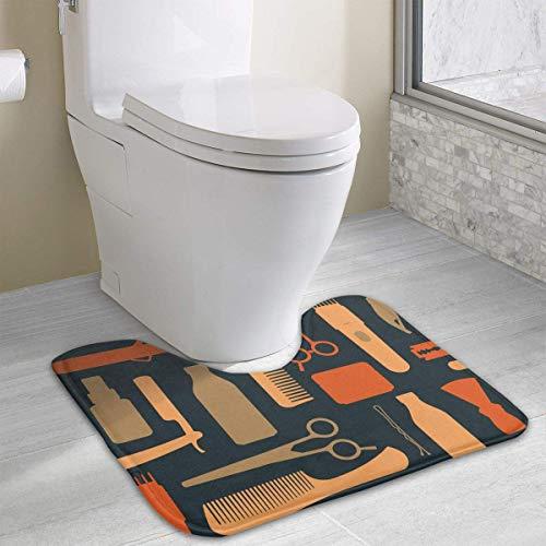 Bennett11 Hairdressing Salon U-Shaped Toilet Floor Rug Non-Slip Toilet Carpets Bath Mats Rug 19.2″x15.7″