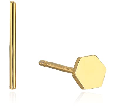 df877eac6 Amazon.com: Tai Mix Match Hexagon and Stick Post Gold Stud Earrings ...