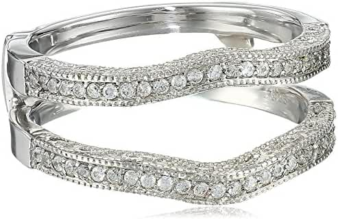 Sterling Silver Contour Ring Guard with Millgrained Edges and Filigree Cut Out Design with Cubic Zirconia (0.26 ct. tw.)