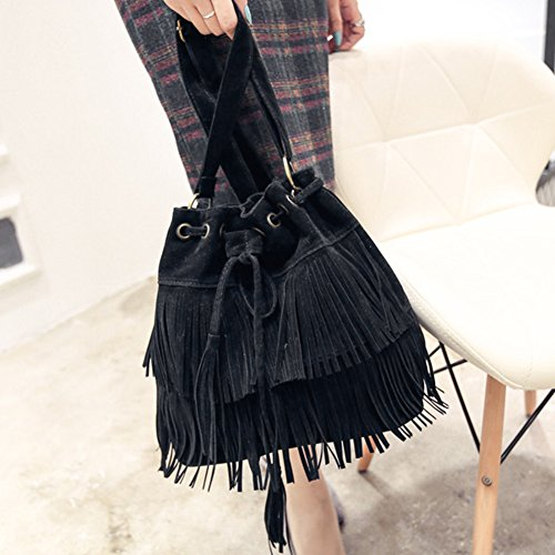 Cross Brown Suede Womens Khaki Tassels body Faux Black Brown black Shoulder Bag Bag Fringe Bag Shoulder Bucket qYAZUZ