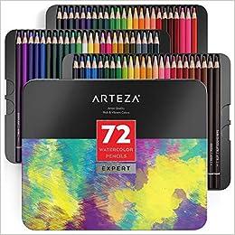 ARTEZA Juego de lápices de acuarela | Estuche de 72 lápices acuarelables de dibujo artístico en brillantes tonos surtidos | ideales para mezclar y ...