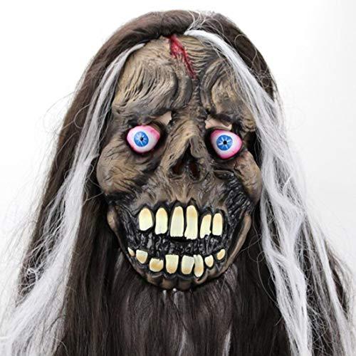 MostaShow Explosive Eye Long Hair Ghost Mask Latex