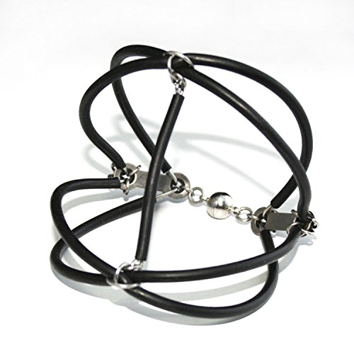 Tubing Cuff (LANDINGS - Bracelet made from Upcycled Rubber Tubing and Stainless Steel Wire)