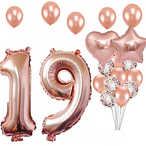 19th Birthday Decorations Party Supplies Jumbo Rose Gold Foil Balloons For Birthday Party Suppliesanniversary Events Decorations And Graduation