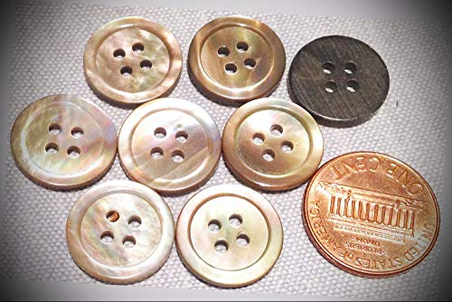 JumpingLight 8 Tan MOP Mother of Pearl Shell Natural Buttons Almost 5/8'' 15.1mm 7774 Perfect for Crafts, Scrap-Booking, Jewelry, Projects, Quilts