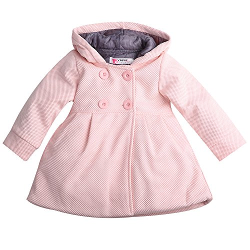 Baby Toddler Girls Fall Winter Trench Coat Wind Hooded Jacket Kids Outerwear (2-3 Years, Pink) (Girl Winter Infant Coat)