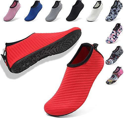 VIFUUR Womens Mens Water Sport Shoes Adjustable Aqua Socks Surf Beach Pool Shoes with Elastic Red 36/37