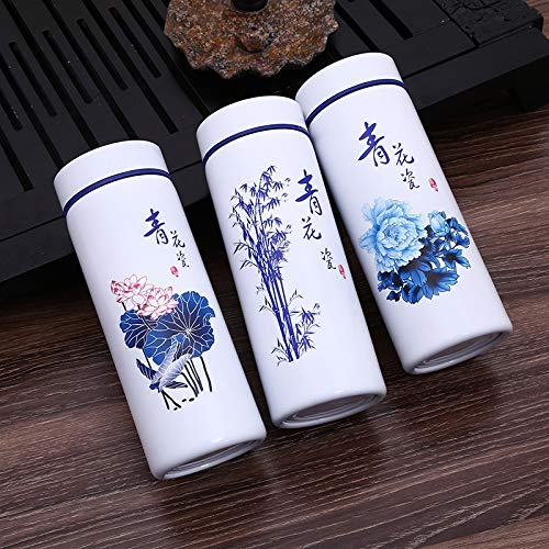 BGRFEB Chinese Blue and White Ceramic Water Bottle Stainless Steel Outside Thermos Flask Outdoor Portable Porcelain Drink Bottle Cup (Color : Lotus, Size : One size)