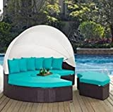 Bellagio 4-piece Outdoor Daybed Sectional Set Turq with free nice gift