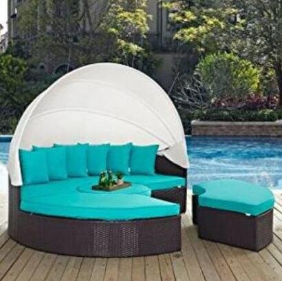 Outdoor Wicker Patio Daybed with Ottoman in Espresso with Turquoise Cushions (Turquoise) (Day Patio Sale Labor Furniture)