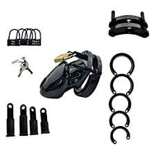 WEKA Hot High Quality 7cm Men Bondage Gear Cock Cage Penis Rings Male Chastity Device Safe Sex Adult Products with Lock New Black