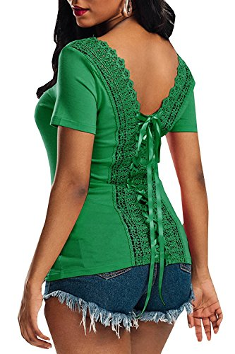 Lace Up Back Top (FISACE Women Lace Hollow Out Short Sleeves Scoop Neck Back Lace Up Blouse Tops)