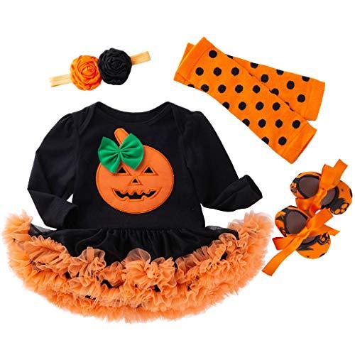Plus Size Sock Monkey Costume (jin&Co 4PCS Outfits Halloween Costume Set Baby Girls Long Sleeve Pumpkin Tulle Romper Dress Shoes Hairband Warm Sock)