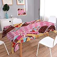 """Angoueleven Ice Cream Printed Tablecloth Candy Cookie Sugar Lollipop Cake Ice Cream Girls Design Flannel Tablecloth Baby Pink Chestnut Brown Caramel size:60""""x84"""""""